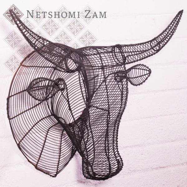 Netshomi Zam African Beadwork - Wire Animal Sculpture Nguni Head