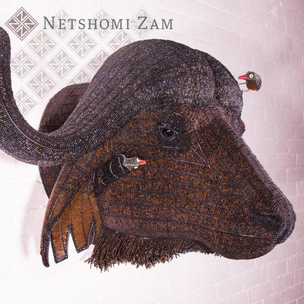 Netshomi Zam African Beadwork - Beaded Buffalo Animal Head