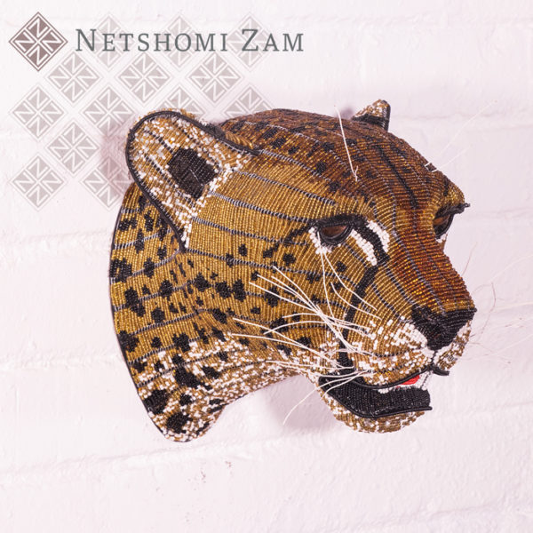 Netshomi Zam African Beadwork - Beaded Cheetah Animal Head
