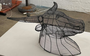 Netshomi Zam African Beadwork - Gallery Image Wire Art Animal Head