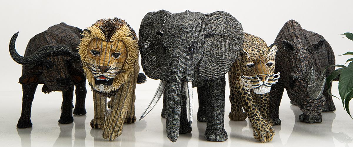 Netshomi Zam African Beadwork - Beaded Animal Sculpture African Big Five