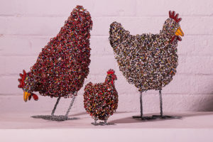 Netshomi Zam African Beadwork - Streetwires Beaded Animal Sculpture Chickens